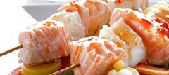 Шашлык рыбный с овощами