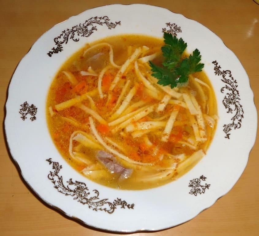 Суп с лапшой из блинчиков
