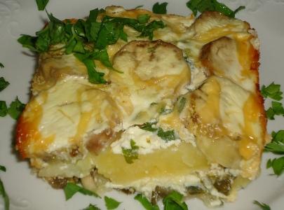 Запеканка с баклажанами и картофелем